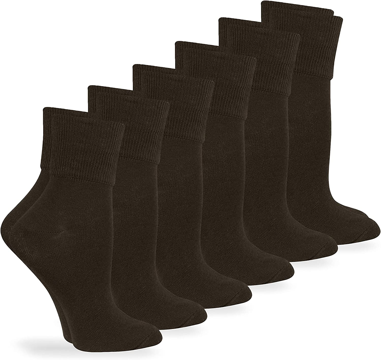 Jefferies Socks Womens Organic Cotton Seamless Turn Cuff Ankle Socks 3 Pair Pack