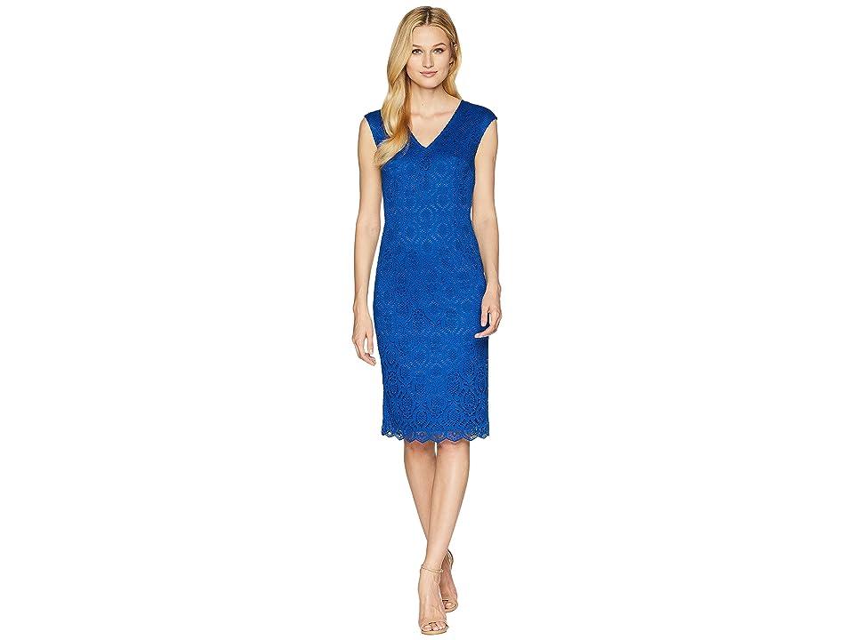 Adrianna Papell Jade Lace Sheath Dress (Blue Lotus) Women