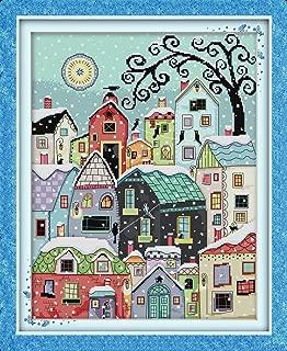 Joy Sunday Stamped Cross Stitch Kits Classical Scenery Style Cross-Stitch Sets Snow Street Scenery 20''x24''