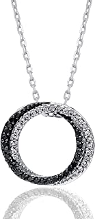 1/6 Carat Natural Diamond Pendant Necklace 925 Sterling Silver (HI Color, I3 Clarity) Circular Diamond Pendant Necklace for Women Diamond Jewelry Gifts for Women