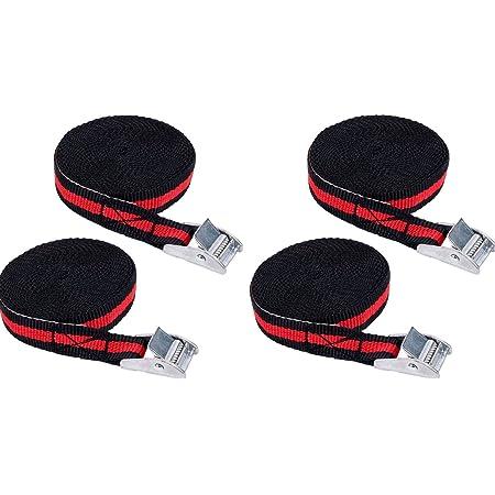 Iapyx 4 Stück Spanngurte Klemmschloss 2 5m Zurrgurte Schnellverschluss Schwarz Rot Auto