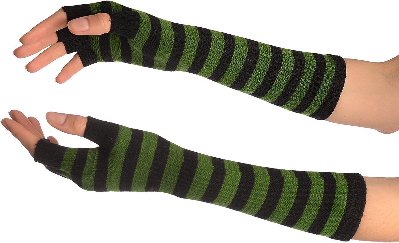 Green & Black Stripes Fingerless Gloves - Gloves