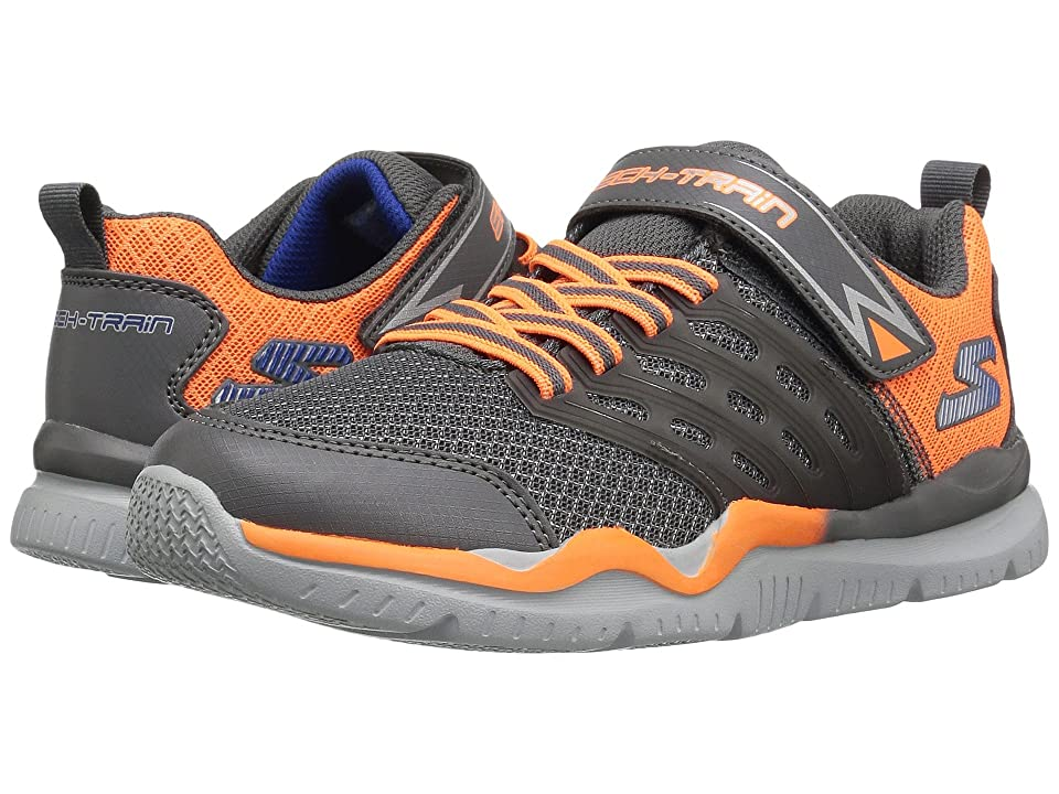 SKECHERS KIDS Skech Train 97530L (Little Kid/Big Kid) (Charcoal/Orange) Boy