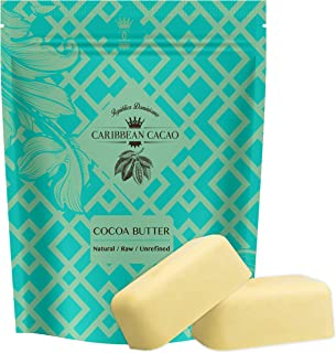 Caribbean Cacao Unrefined Cocoa Butter – 2 LB Rich Body Butter Bar for Stretch..