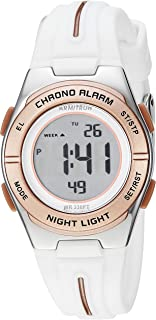 Armitron Sport Women's 45/7096WRG Rose Gold-Tone Accented Digital Chronograph White Silicone Strap Watch