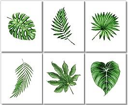 Botanical Prints Wall Art -Tropical Leaves Decor (Set of 6) - 8x10 - Unframed - Green Leaf Print Set