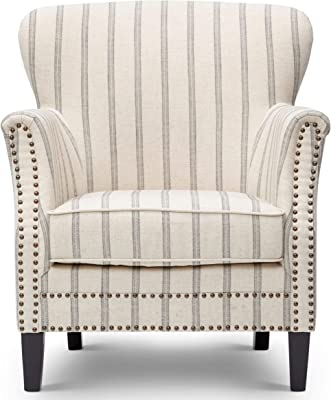 Benjara, White and Gray Benzara Upholstered Wooden Living Room Chair with Tufted Nail Head Trim