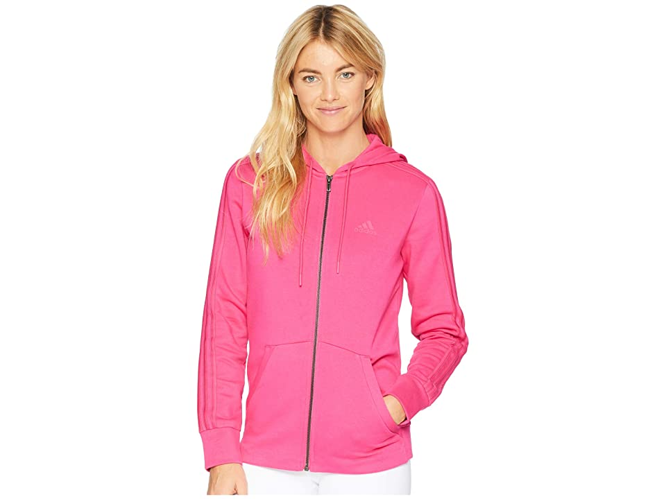 adidas Essentials Cotton Fleece 3S Full Zip Hoodie (Real Magenta/Real Magenta) Women