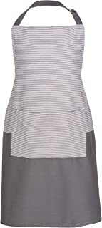 Sticky Toffee Cotton Cooking Apron, Adjustable Tie, 27 in x 34 in, Gray Stripe with Pocket