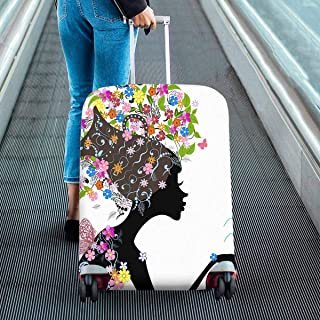floral fashion girl Zodiac sign aquarius Pattern Print on Suitcase Protectors Luggage Covers Fit 18-28 Inch Luggage