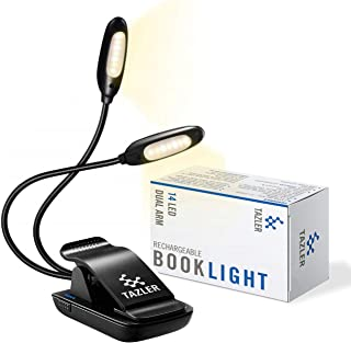 TAZLER 14 LED Rechargeable Dual Arm Book Light, 3 Brightness Levels, 3 Light Temperatures, 9 Light Modes, 2 Flexible Arms