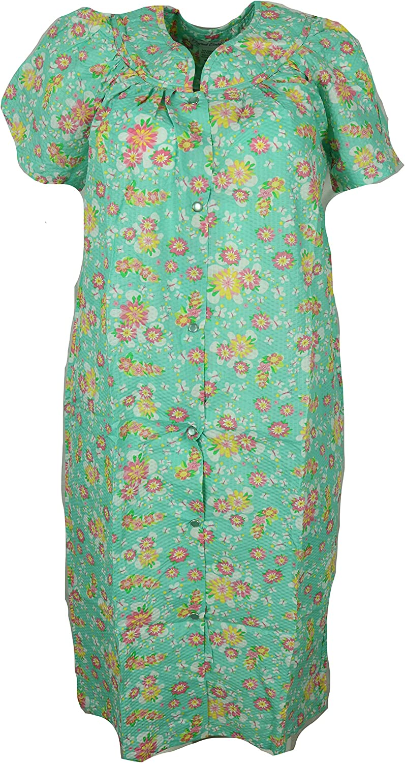 Elegant Emily Women's Cotton Blend House Dress Duster Robe, Snap Front, Pockets (Small, Green Flowers and Butterflies)