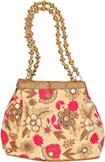 Exotic India Cream Floral Embroidered Bracelet Bag with Mirrors and - Off-White