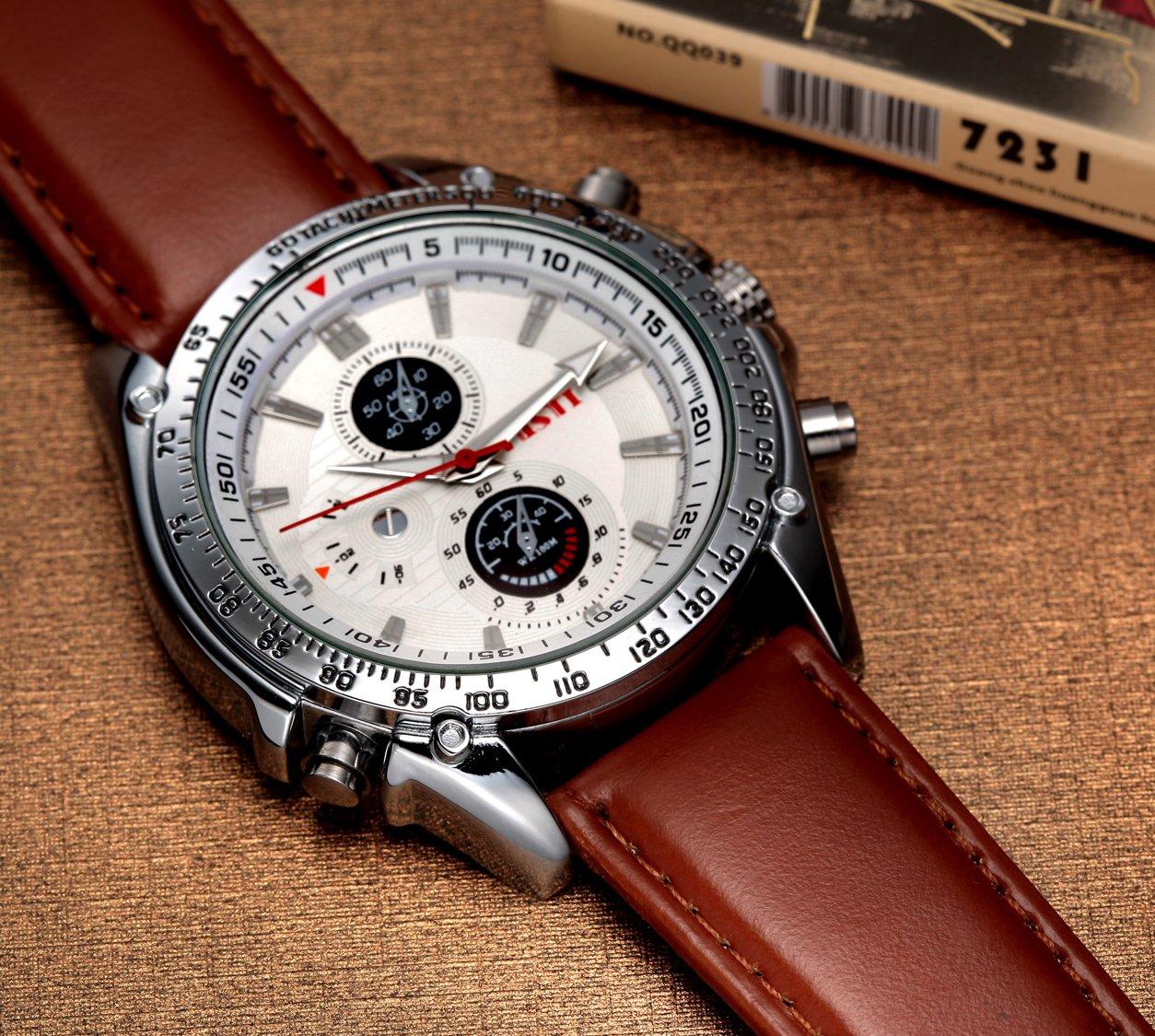 Mens Quartz Watch, Roman Numeral Business Casual Fashion Wrist watch, PU Strap Leather Watch Brown
