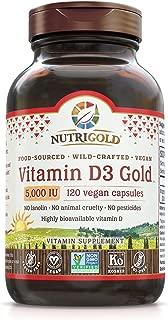 Food-Sourced Vitamin D3 5000 IU, 120 Capsules (Natural Vitamin D from Lichen, Certified Vegan, Kosher, Non-GMO)