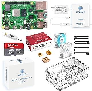 TRASKIT Raspberry Pi 4 Model B /ラズベリーパイ4B(8GB RAM)技適マーク付/MicroSDHCカード128GB NOOBSプリインストール/簡単に取り付けるケース/5.1V/3A Type-C スイッチ付電...