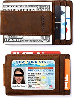 Mens Leather Bifold RFID Money Clip Wallet, Front Pocket Wallet with Money Clip