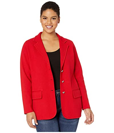 LAUREN Ralph Lauren Plus Size Sweater Knit Blazer (Lipstick Red) Women