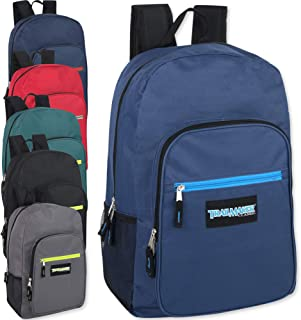24 Case of Backpack Kids School Bags Wholesale in Bulk 19 Inch Multipocket Backpacks With Padded Straps (6 Color Assortment)