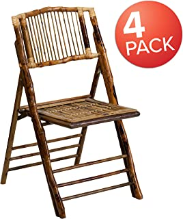 Flash Furniture 4 Pk. American Champion Bamboo Folding Chair, 4-X-62111-BAM-GG