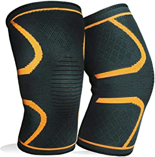 1 Pair Knee Brace Support Compression Sleeves Wraps Pads for Arthritis Running Pain Relief Injury Recovery BasketBall/Foot...