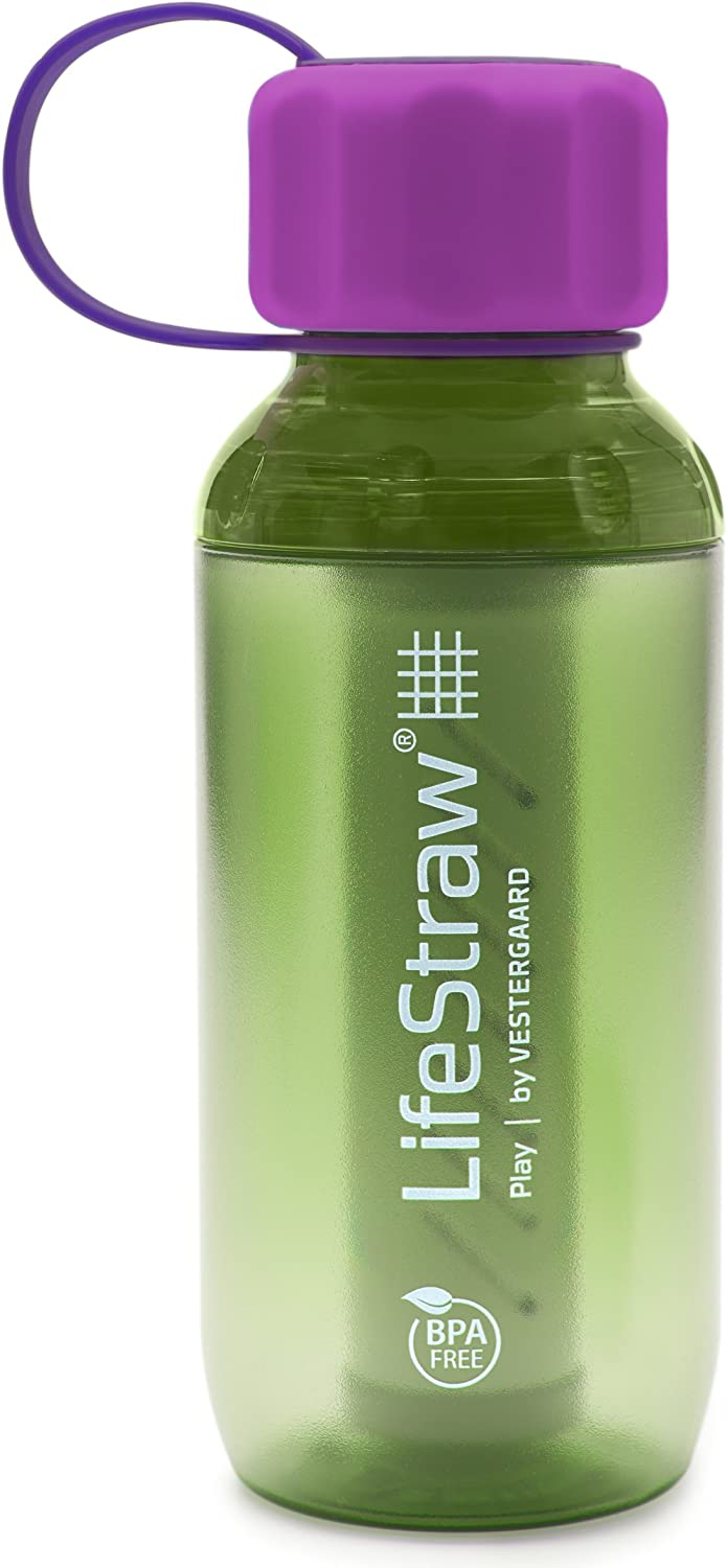 LifeStraw Play Kids' Water Filter Bottle with 2-Stage Integrated Filter Straw for Safe and Clean Drinking Water 10-Ounce Lime