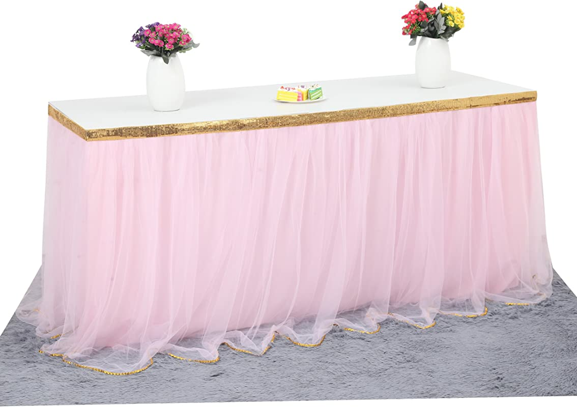 6 Ft Pink Table Skirt With Gold Sequin Tulle Table Skirt For Bridal Shower Wedding Baby Shower Birthday Party