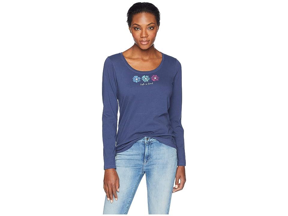 2c4c8272 Life is Good 3 Happy Daisies Crusher Scoop Long Sleeve T-Shirt (Darkest Blue)  Women's T Shirt