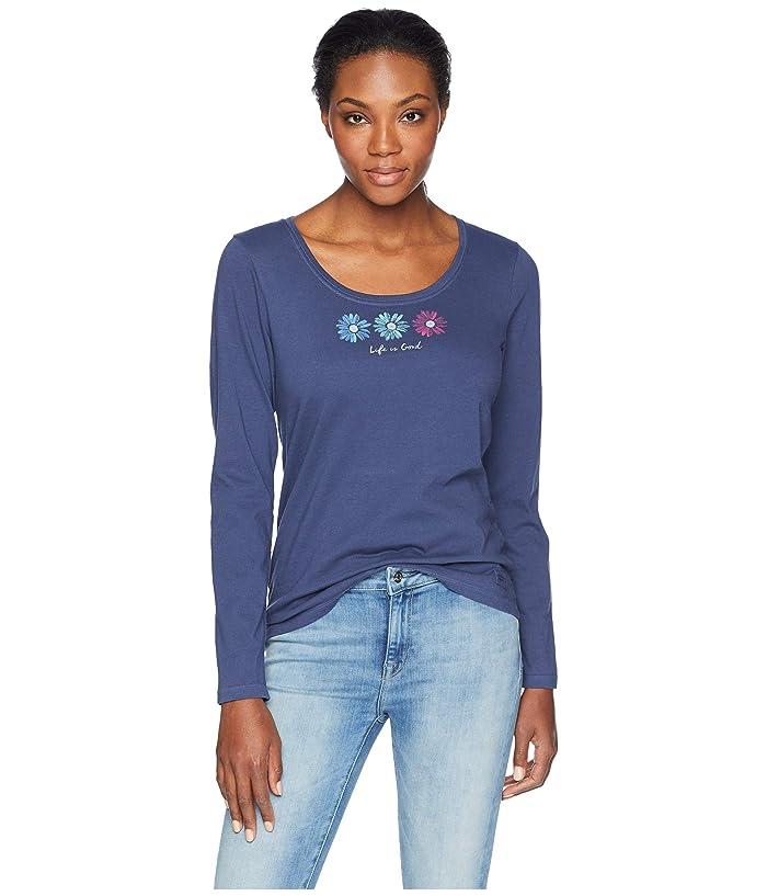 f77a98932b01dd Life is Good 3 Happy Daisies Crusher Scoop Long Sleeve T-Shirt (Darkest  Blue) Women's T Shirt