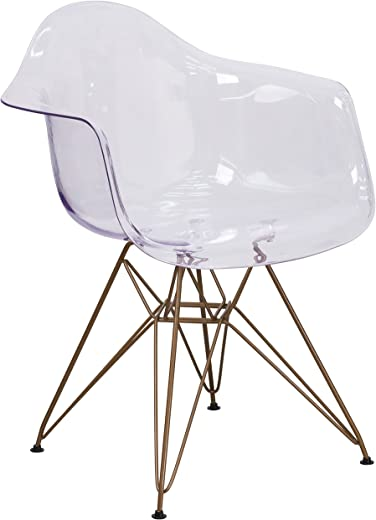 B01M0QCWYC✅Flash Furniture Alonza Series Transparent Side Chair with Gold Base
