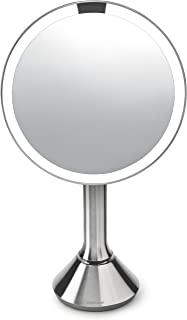 simplehuman Sensor Mirror - Sensor-Activated Lighted Makeup Mirror with Brightness Control Brushed Stainless Steel