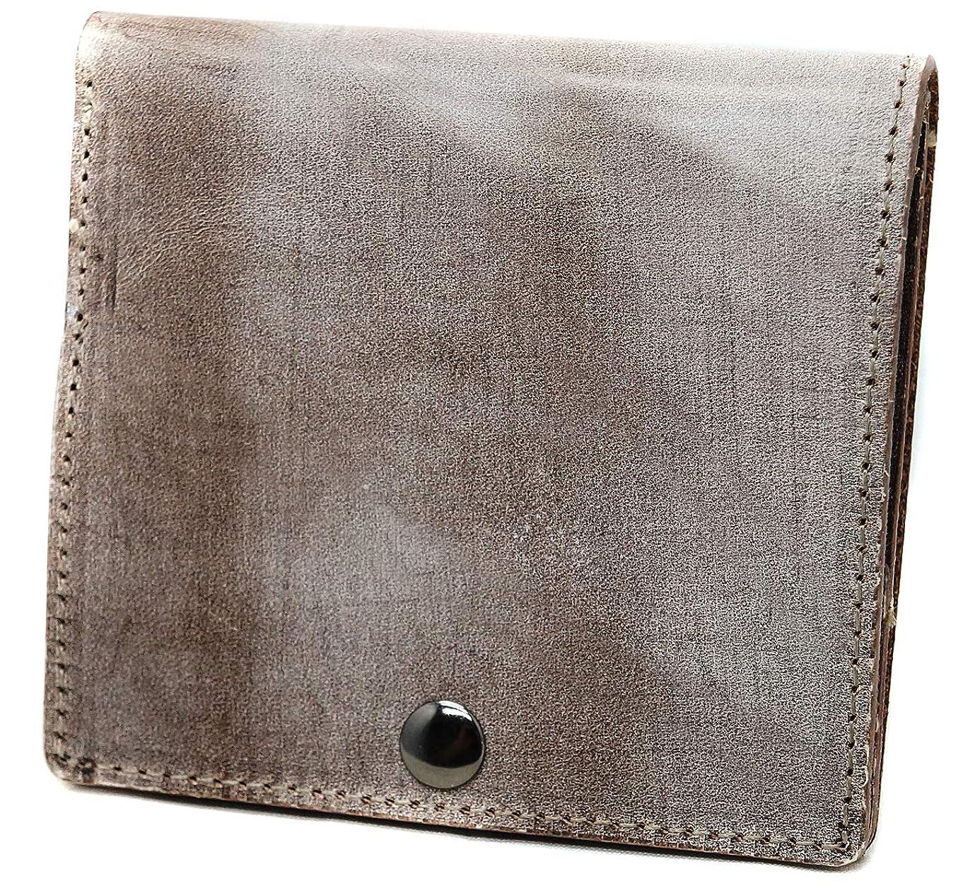 利用可能存在する挨拶極上イタリア製ブライドルレザー 二つ折り財布 本革 薄型 コンパクト ダークブラウン ME0277_c5