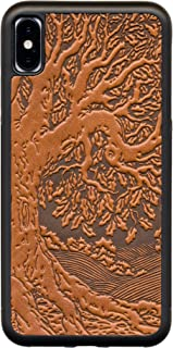 Leather iPhone Case for iPhone XR, Rugged, Flexible TPU iPhone Holder with Embossed Top Grain Cowhide Leather, Handcrafted in USA, Tree of Life by Oberon Design (XR)