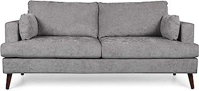 Christopher Knight Home Randolph Contemporary 3 Seater Fabric Sofa, Light Gray + Espresso