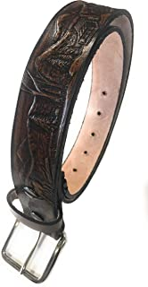 Deer Design Handmade Mens Leather Belt Western Work Casual Belt 1.5