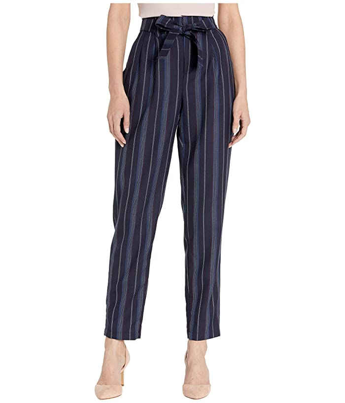 Pendleton Stripe Belted High-Waisted Pants (Navy Linen Weave Stripe) Women