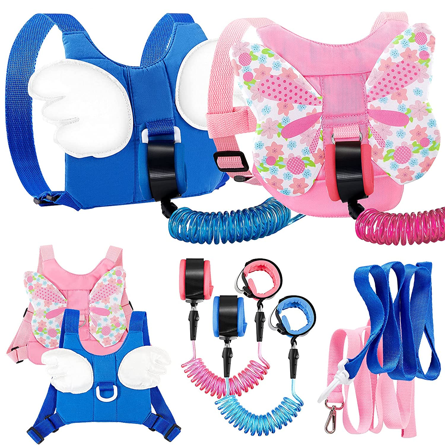 4 Pieces Leashes Toddler Harness Leashes Child Harness Backpack Toddler Safety Leash Wrist Walking Harness Wristband Anti Lost Wrist Link for Kids (Butterfly, Angel Wings)