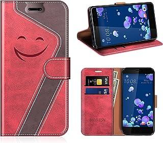 MOBESV Smiley Funda Cartera HTC U11 Magnético, Funda Cuero Movil HTC U11 Carcasa Case con Billetera/Soporte para HTC U11, Rojo/Violeta Oscuro