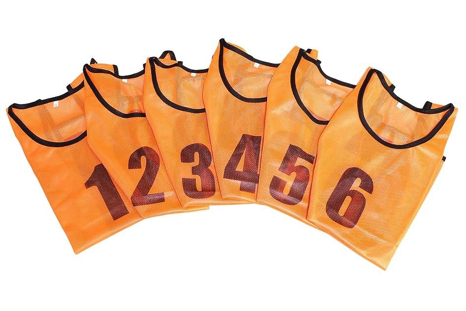 関係する中断無駄ユニフォーム ベスト ビブス 1番~6番 6枚入り サッカー フットサル スポーツ メッシュ 袖無し ゼッケン