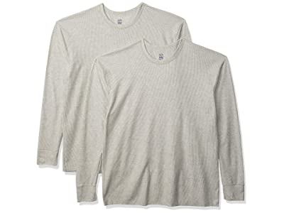 Fruit Of The Loom Classic Midweight Waffle Thermal Underwear Crew Top (1 2 Packs) (Light Grey Heather/Light Grey Heather