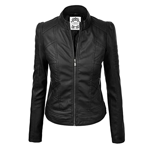 dab894e8e5e Made By Johnny MBJ Womens Faux Leather Zip Up Moto Biker Jacket With  Stitching DetaiL