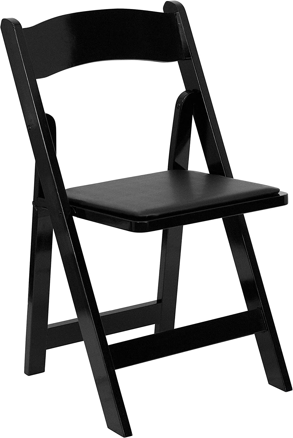 Flash Furniture HERCULES Series Black Wood Folding Chair with Vinyl Padded Seat