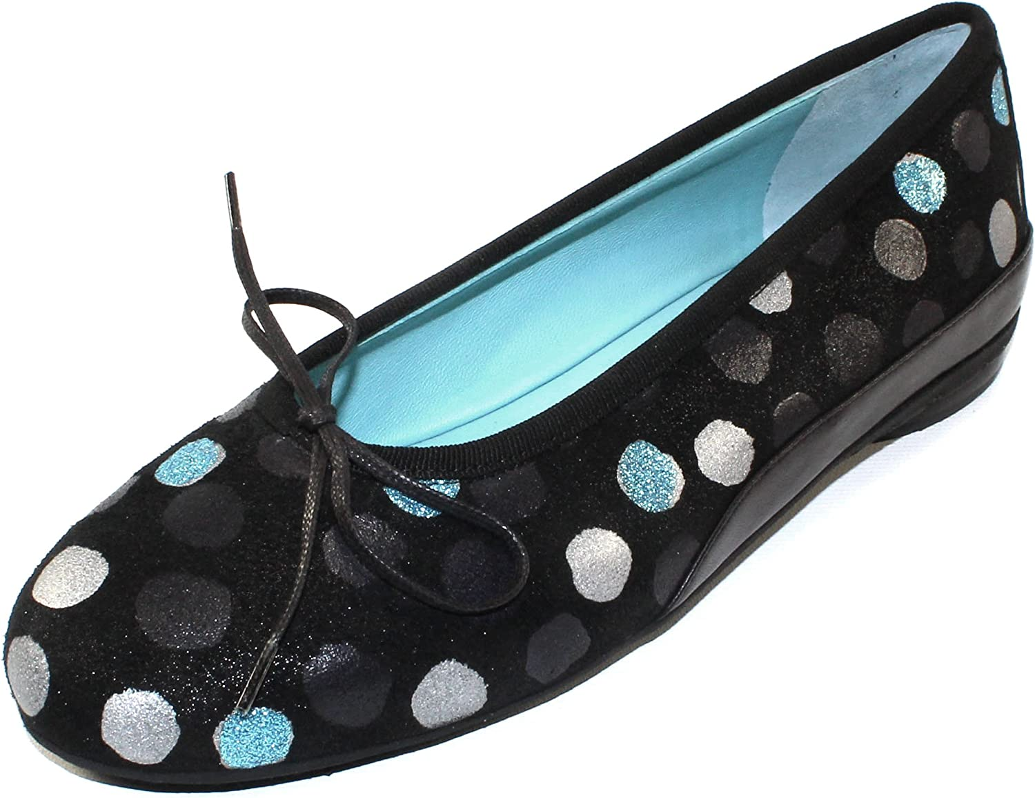 Thierry Rabotin Women's Gem in bluee Dot Kitty Black Embossed Suede Nappa Leather - Size 36.5 M
