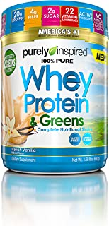 Purely Inspired 100% Pure Whey & Greens, Pure Whey Protein Powder, Vanilla, 1.5 Pounds