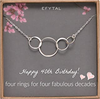 EFYTAL 40th Birthday Gifts for Women, Sterling Silver Four Circle Necklace for Her 4 Decade Jewelry 40 Years Old