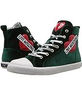 LOVE Moschino - Velvet High Top Sneaker w/ Heart Logo