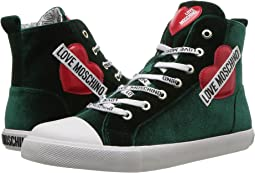 Velvet High Top Sneaker w/ Heart Logo