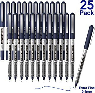 RollerBall Pens, Shuttle Art 25 Pack Blue Fine Point Roller Ball Pens, 0.5mm Liquid Ink Pens for Writing Journaling Taking Notes School Office