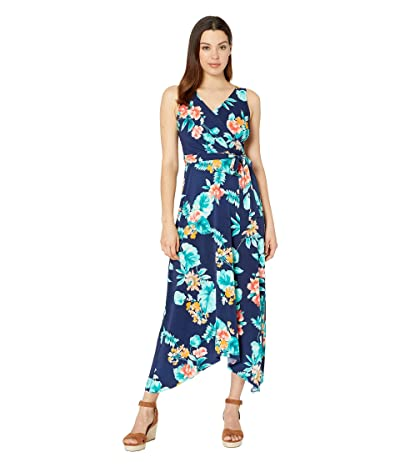 Donna Morgan Sleeveless Floral Print Matte Jersey Dress (Navy/Yellow Multi) Women