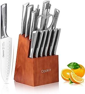 Ensembles de Couteaux de Cuisine, Cookit 15 Pièces Set de Couteaux Cuisine Professionnels en Acier Inoxydable avec Ciseaux...